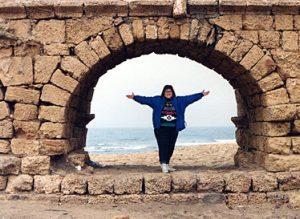 Laura in Caesarea Maritima, Israel