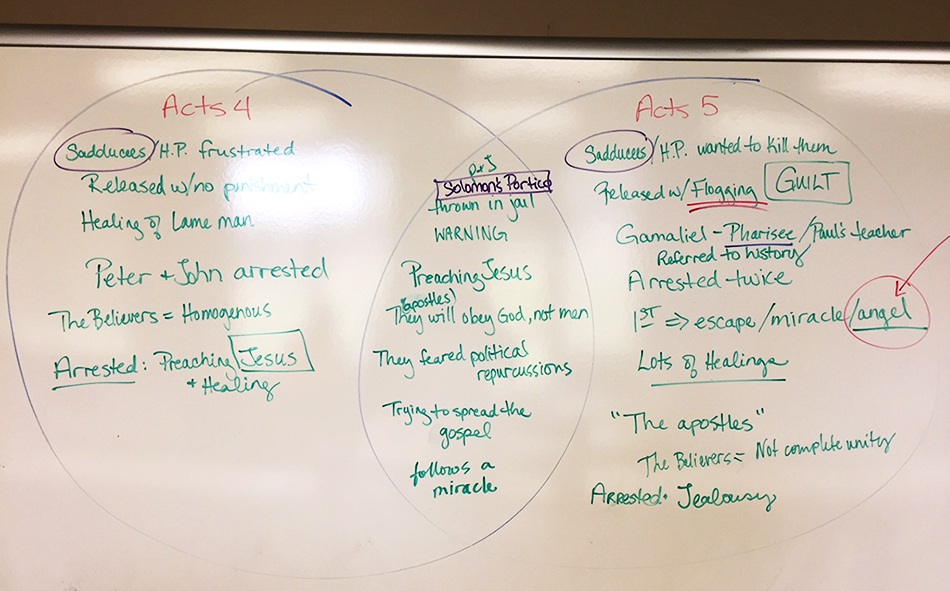 Acts 4 vs. Acts 5 Venn Diagram Whiteboard