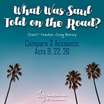 This week, Craig Bondy (guest teacher) compared and contrasted three different accounts of Saul's experience on the road to Damascus. We examined the narrative in Acts 9 as well as Paul's testimony in Acts 22 and his witness in Acts 26. We focused our attention on what Saul was told about his future.